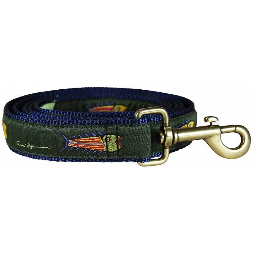 Hopkins fish olive 1 inch ribbon dog leash for Fish on a leash