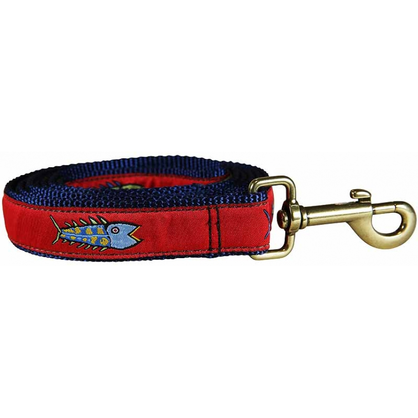 Hopkins fish red 1 inch ribbon dog leash for Fish on a leash
