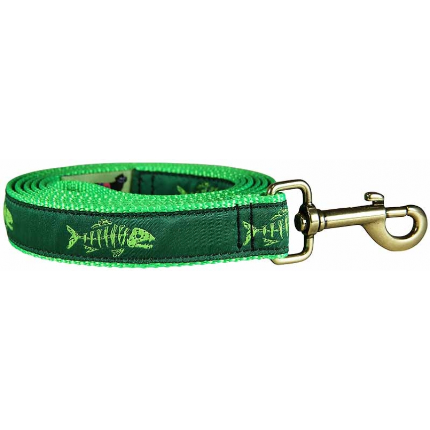 Rogue fish lime green 1 inch ribbon dog leash for Fish on a leash