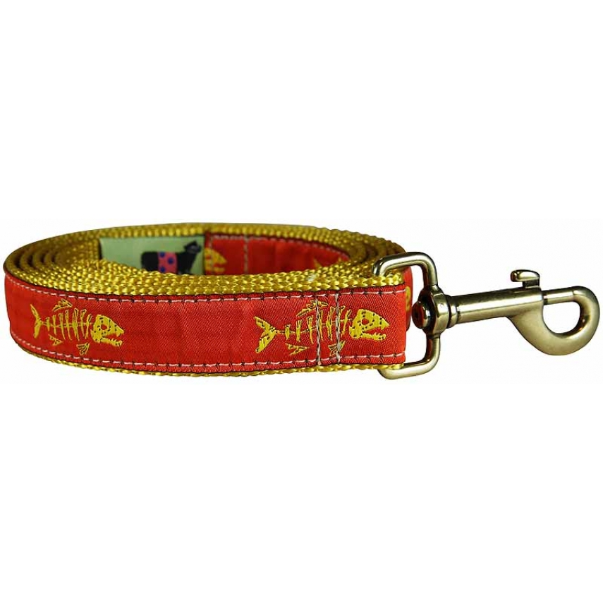 Rogue fish tangerine 1 inch ribbon dog leash for Fish on a leash
