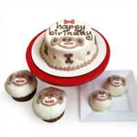 Custom Dog Birthday Cake - Sock Monkey Series