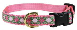 Argyle (Pink & Green) - 5/8-inch Ribbon Dog Collar