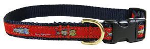 Hopkins Fish (Red) - 5/8-inch Ribbon Dog Collar