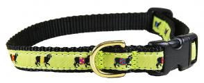Beltie Cow (Lime) - 5/8-inch Ribbon Dog Collar