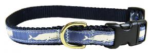 Moby Whale (Blue) - 5/8-inch Ribbon Dog Collar