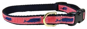 Moby Whale (Pink) - 5/8-inch Ribbon Dog Collar