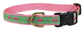 Crabs (Pink & Green) - 5/8-inch Ribbon Dog Collar