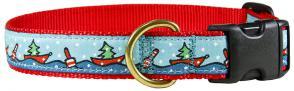 Holiday Boats - 1-inch Ribbon Dog Collar