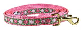 Argyle (Pink & Green) - 5/8-inch Ribbon Dog Leash