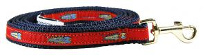 Hopkins Fish (Red) - 5/8-inch Ribbon Dog Leash