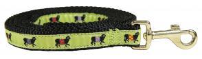 Beltie Cow (Lime) - 5/8-inch Ribbon Dog Leash