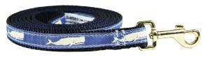 Moby Whale (Blue) - 5/8-inch Ribbon Dog Leash