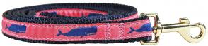 Moby Whale (Pink) - 5/8-inch Ribbon Dog Leash