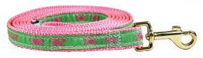 Crabs (Pink & Green) - 5/8-inch Ribbon Dog Leash