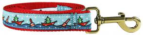 Holiday Boats - 1-inch Ribbon Dog Leash