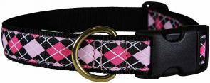 Argyle (Pink & Black) - 1-inch Ribbon Dog Collar