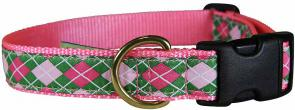 Argyle (Pink & Green) - 1-inch Ribbon Dog Collar