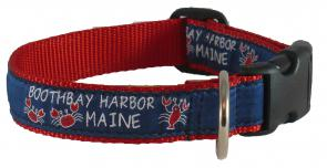 Boothbay Harbor (Red) - 1-inch Ribbon Dog Collar