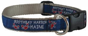 Boothbay Harbor (Silver) - 1-inch Ribbon Dog Collar