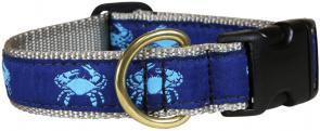 Crabs (Blue) - 1-inch Ribbon Dog Collar