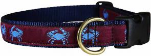 Crabs (Burgundy) - 1-inch Ribbon Dog Collar