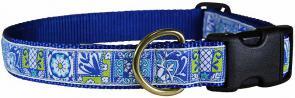 Damariscotta Tiles - 1-inch Ribbon Dog Collar