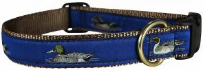 Ducks (Navy Blue) - 1-inch Ribbon Dog Collar