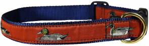 Ducks (Rust) - 1-inch Ribbon Dog Collar