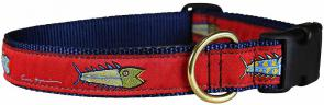 Hopkins Fish (Red) - 1-inch Ribbon Dog Collar