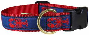 Lobster (Red & Blue) - 1-inch Ribbon Dog Collar
