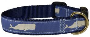 Moby Whale (Blue) - 1-inch Ribbon Dog Collar