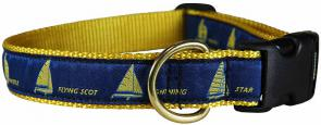 One Design (Blue & Yellow) - 1-inch Ribbon Dog Collar