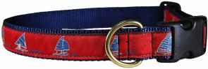 One Design (Red) - 1-inch Ribbon Dog Collar