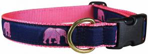 Pink Elephant Parade - 1-inch Ribbon Dog Collar