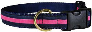 Pink Stripe on Navy Blue - 1-inch Ribbon Dog Collar