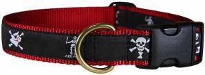 Pirate Flags (Midnight Black) - Ribbon Dog Collar