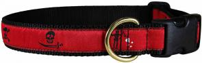 Pirate Flags (Red) - 1-inch Ribbon Dog Collar