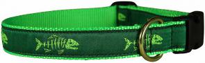 Rogue Fish (Green) - 1-inch Ribbon Dog Collar
