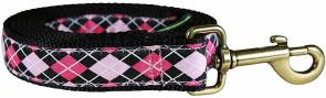 Argyle (Pink & Black) - 1-inch Ribbon Dog Leash