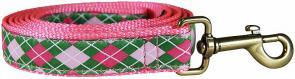 Argyle (Pink & Green) - 1-inch Ribbon Dog Leash