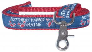 Boothbay Harbor (Red) - 1-inch Ribbon Dog Leash