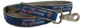 Boothbay Harbor (Silver) - 1-inch Ribbon Dog Leash