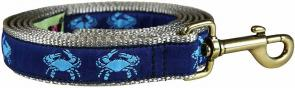 Crabs (Navy Blue) - 1-inch Ribbon Dog Leash