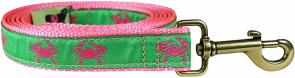 Crabs (Pink & Green) - 1-inch Ribbon Dog Leash