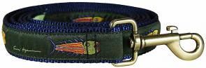 Hopkins Fish (Olive) - 1-inch Ribbon Dog Leash