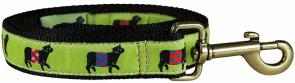 Beltie Cow (Lime) - 1-inch Ribbon Dog Leash