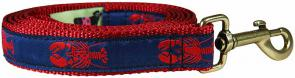Lobster (Blue & Red) - 1-inch Ribbon Dog Leash