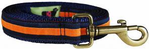 Orange Stripe on Navy Blue - 1-inch Ribbon Dog Leash