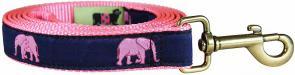 Pink Elephant Parade - 1-inch Ribbon Dog Leash