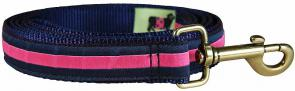 Pink Stripe on Navy Blue - 1-inch Ribbon Dog Leash